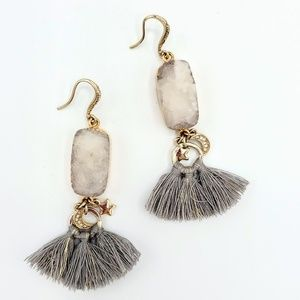 Druzy Tassel Celestial Earrings